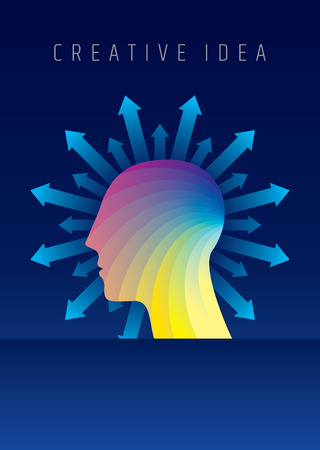 Thoughts and options. vector illustration of head with arrows.