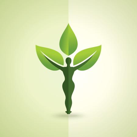 Ilustración del vector de yoga creativo con la hoja.