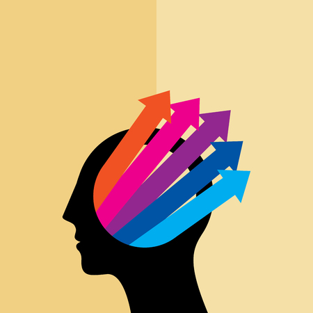 helplessness: Thoughts and options. vector illustration of head with arrows
