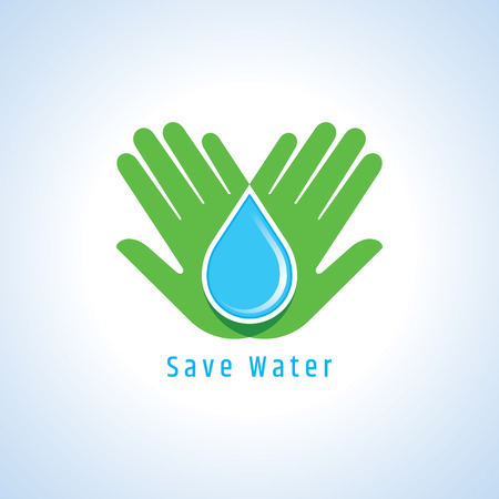 drop water: Save water concept, Hand holds water drop. Illustration