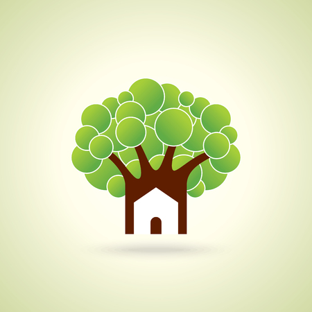 Green home icon on light green background.