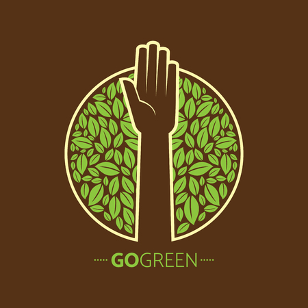 ecological: ecological symbols and signs,humans hands and green growing plants & leafs Illustration