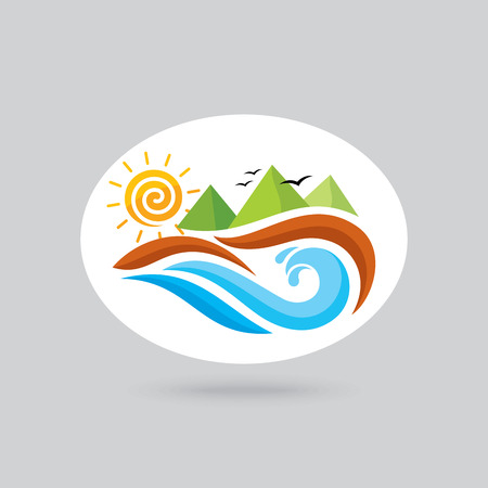 resort: Logo for ocean view resort, logo design, vector illustration.