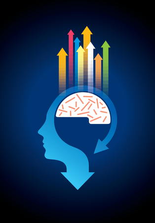 Thoughts and options. vector illustration of head with arrows