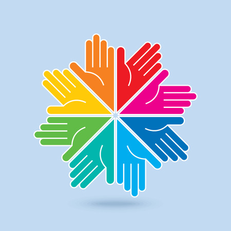 charity collection: Teamwork symbol. Multicolored hands Illustration