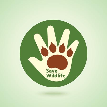 paws: Save Wildlife, save tiger concept