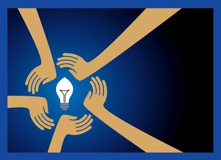 bulb idea with human hands Illustration