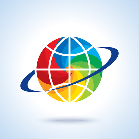 abstract global logo with modern ring sphere infinity synergy vector logo design