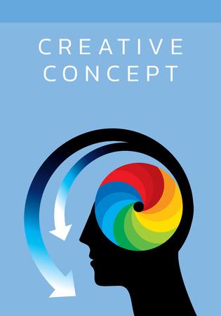 Los pensamientos y las opciones. ilustración vectorial de la cabeza con las flechas