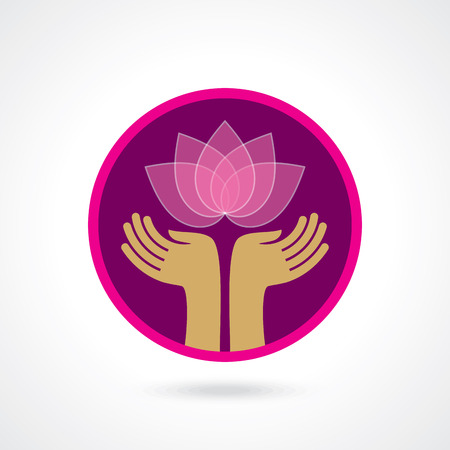 lotus flowers: Vector yogaspa icons and graphic design elements.