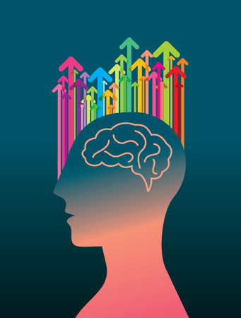 unsolvable: Thoughts and options. vector illustration of head with arrows