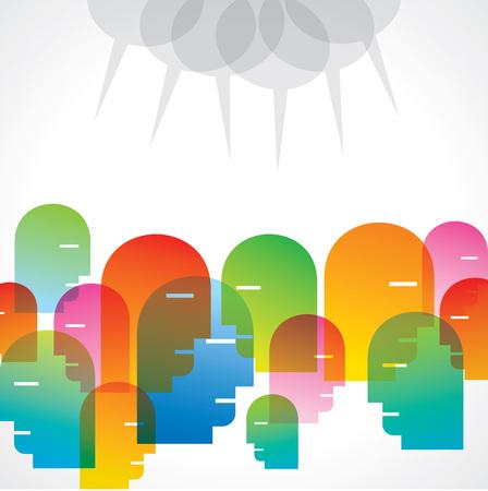 Ilustración del vector de la gente de color perfil con burbujas de diálogo.
