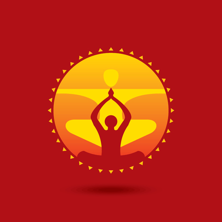 relaxation: Vector yogaspa icons and graphic design elements.