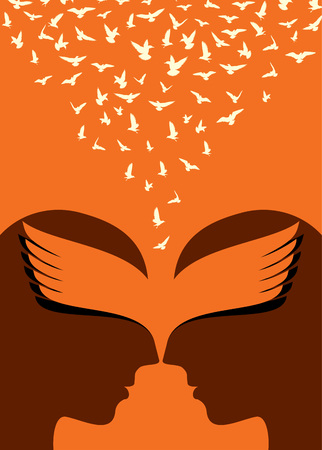 exploit: Flying birds to human head, creative concept Illustration
