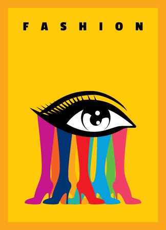 colorful creative fashion eye and leg