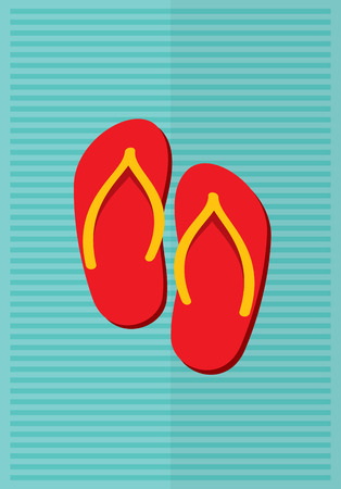 flipflop: Beach slippers summer symbol. Beach slippers for traveling. Illustration