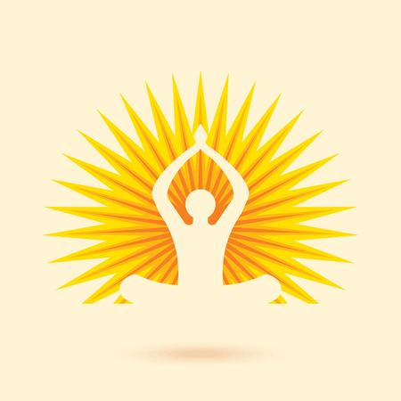 hinduismo: Vector los iconos de la yoga  spa y elementos de diseño gráfico.