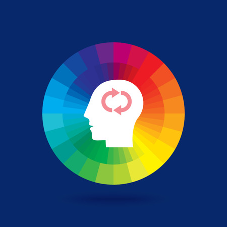 concern: Thoughts and options. vector illustration of head with arrows