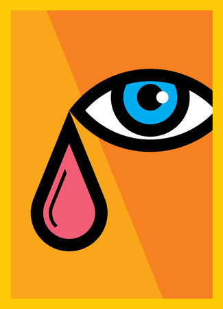 vision loss: Vector of eye with tear