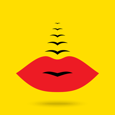 birds in flight: creative concept of lips and flying birds.