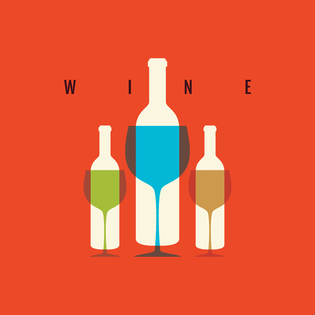 Wine bottle and glass vector icon. Concept for bar menu.