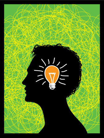 colorful bright simple glowing idea light bulb in a young male human head or thinking mind - abstract unique innovative success concept symbol icon with black background