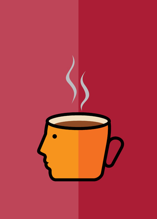 depend: thinking a cup of coffee, vector design Illustration