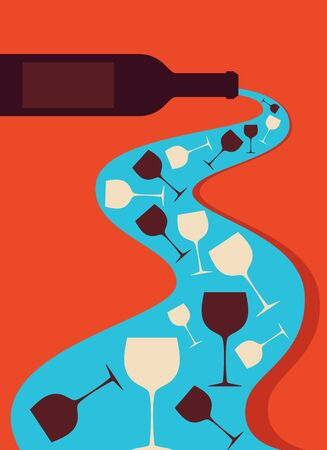 champagne orange: Wine bottle and glass vector icon. Concept for bar menu.