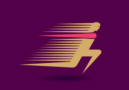 simple logo: Runner logo. Fast simple stylized athlete figure.
