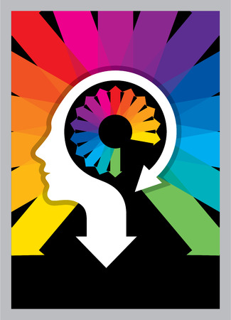 Thoughts and options. vector illustration of head