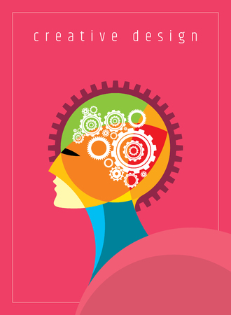 science symbols metaphors: Concept of the functioning of the human body and the brain with gears