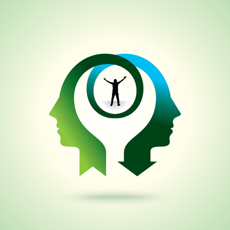 freedom couple: couple thinking achievement, Concept vector