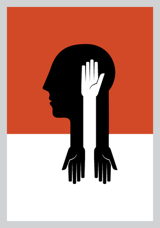 human head: creative human head thinking with helping hands Illustration