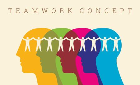 la union hace la fuerza: Trabajo en equipo, de la mano. Diseño para el trabajo en equipo concepto ilustración