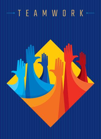 Praca zespołowa Ludzie, trzymając się za ręce. Projektowanie dla pracy zespołowej koncepcji ilustracji Ilustracje wektorowe