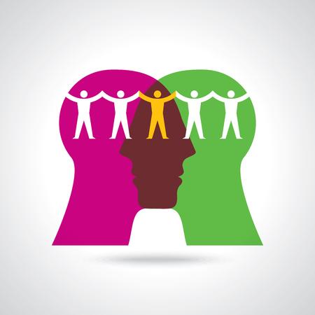psicologia infantil: Trabajo en equipo, de la mano. Diseño para el trabajo en equipo concepto ilustración