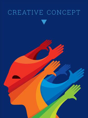 Lavoro di squadra persone, tenendosi per mano. Progettazione per il concetto di lavoro di squadra illustrazione Vettoriali