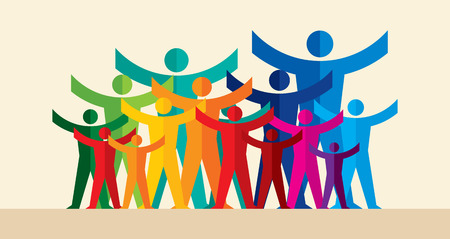 Teamwork People, Holding hands. Design for teamwork concept illustration