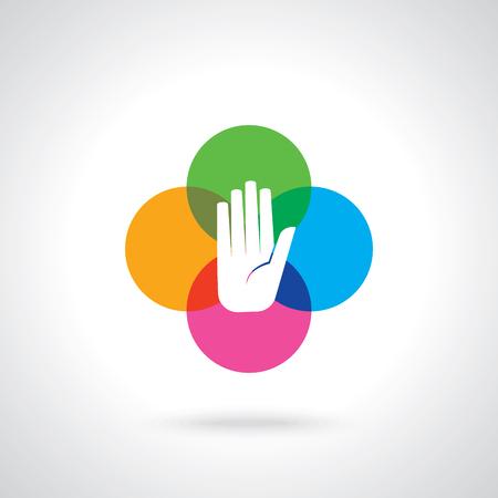 Icono colorido de la mano del vector Foto de archivo - 62247613