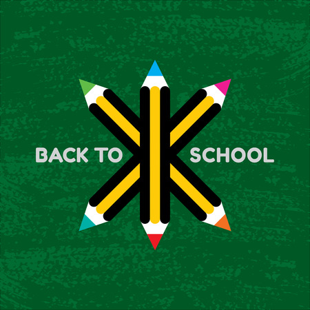 copy text: Vector Back to school poster - colorful crayons on green background Illustration