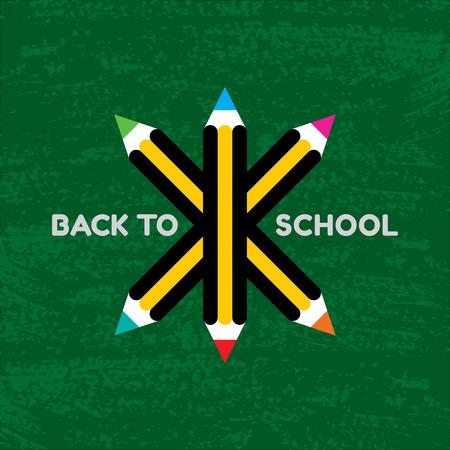 Vector Retour à l'affiche de l'école - crayons de couleur sur fond vert