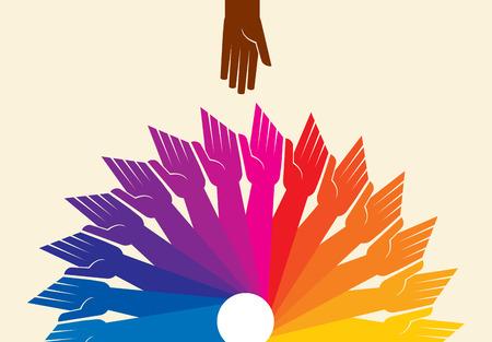 circulo de personas: Trabajo en equipo, de la mano. Diseño para el trabajo en equipo concepto ilustración