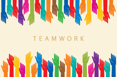 Teamwork People, Holding hands. Design for teamwork concept illustration Imagens - 62247622