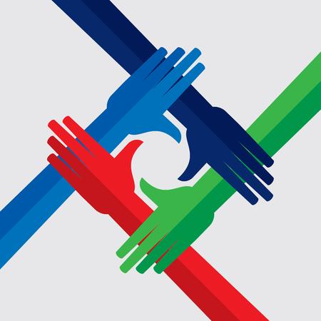 Teamwork People, Holding hands. Design for teamwork concept illustration