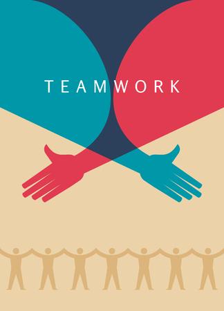 Trabajo en equipo, de la mano. Diseño para el trabajo en equipo concepto ilustración Ilustración de vector