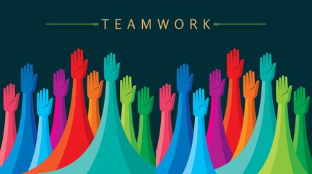 Teamwork People, Holding hands. Design for teamwork concept illustration Stok Fotoğraf - 62247649