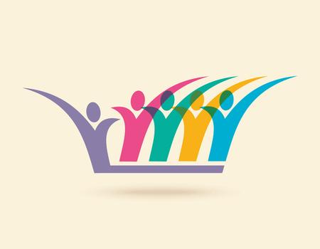 juntos: Trabajo en equipo, de la mano. Diseño para el trabajo en equipo concepto ilustración