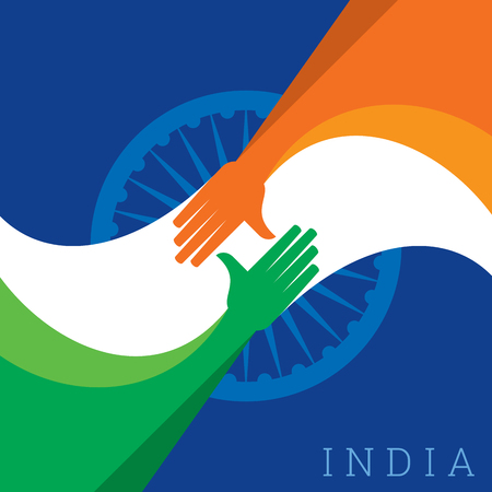 Ilustración del apretón de manos con diseño de la bandera de la India