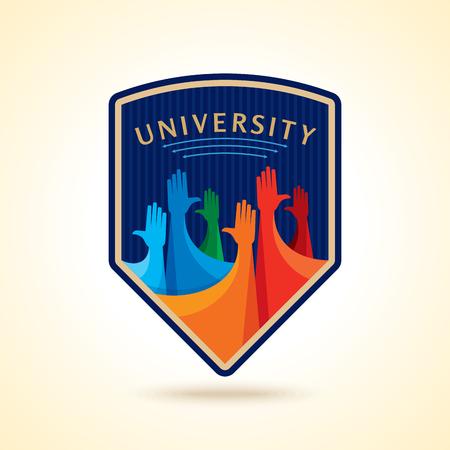 la union hace la fuerza: El diseño colorido de las manos para arriba para el concepto de ilustración juvenil