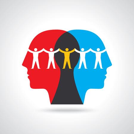 팀웍 사람들이 생각하고, 손을 잡고. 팀워크 개념 그림에 대 한 디자인